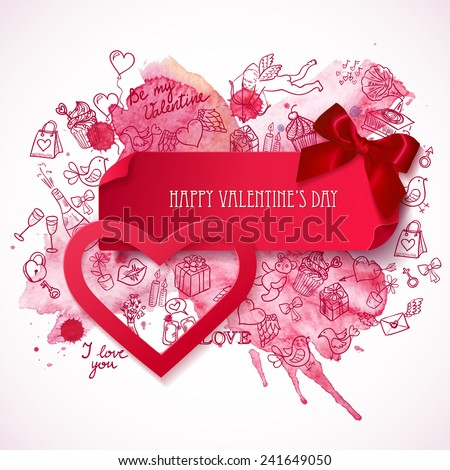 Red paper Heart banner with Bow and hand drawn watercolor background with doodle love symbols. Valentine's day banner. Heart sticker.  Greeting card. Vector illustration  - stock vector