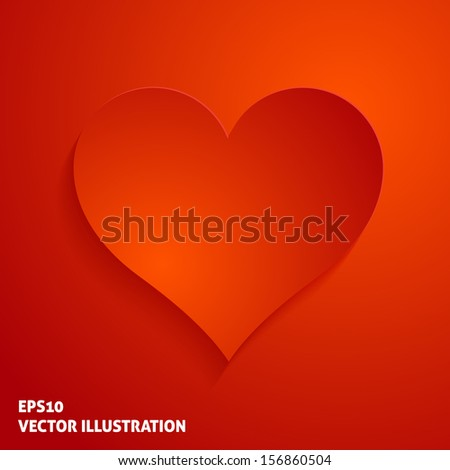 Red paper heart icon on red background. Vector illustration - stock vector