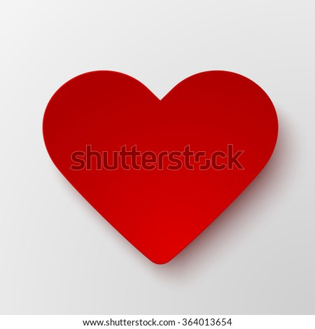 Red paper hearts Valentines day card on white background - stock vector