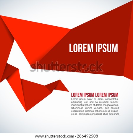 Red Paper Origami Polygonal Shape vector background - stock vector
