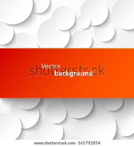 Red paper rectangle banner on abstract circle background with drop shadows. Vector illustration - stock vector