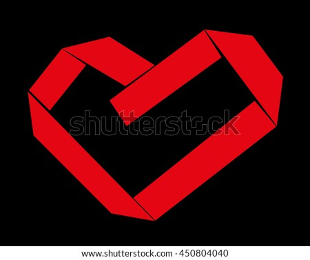 Red Paper Strip Folded as Heart Sign on black background. Vector illustration - stock vector