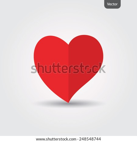 Red paper template heart Valentines day on white isolated background. Happy Valentine's Day. Vector illustration EPS 10 - stock vector