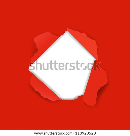 Red Paper Torn With Gradient Mesh, Vector Illustration - stock vector