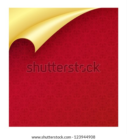 Red paper with vintage texture and curled corner in gold color - stock vector