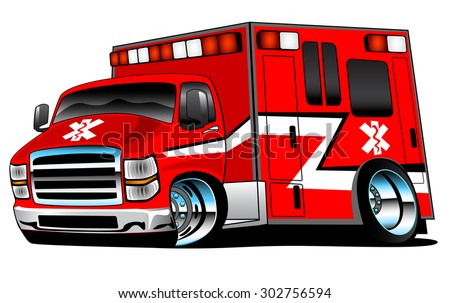 Red paramedic ambulance rescue truck cartoon illustration, bold colors, big rims, and lots of chrome. - stock vector