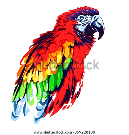 Red parrot - stock vector