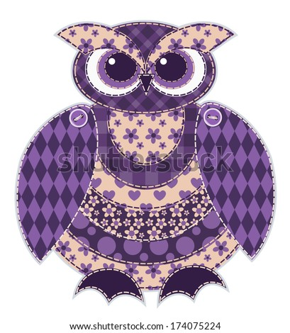 Red patchwork owl. Cartoon vector quilt illustration. Isolated on white. - stock vector