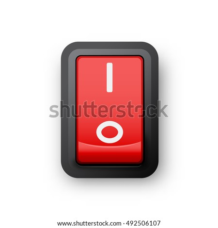 Red pc electric switch, on position, 3d realistic vector object, illustration of electrical equipment, eps 10