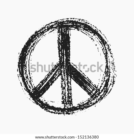 Red peace symbol created in grunge style. - stock vector