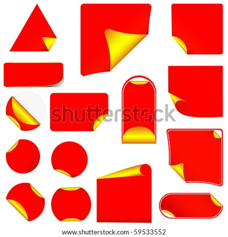 Red pealing paper with yellow corners, isolated on white vector - stock vector