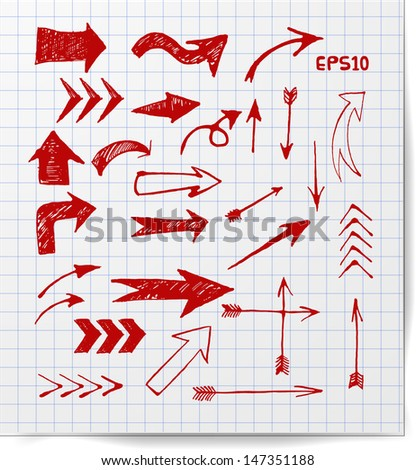 Red pen sketch arrow collection for your design. Hand drawn with ink. Vector illustration. - stock vector