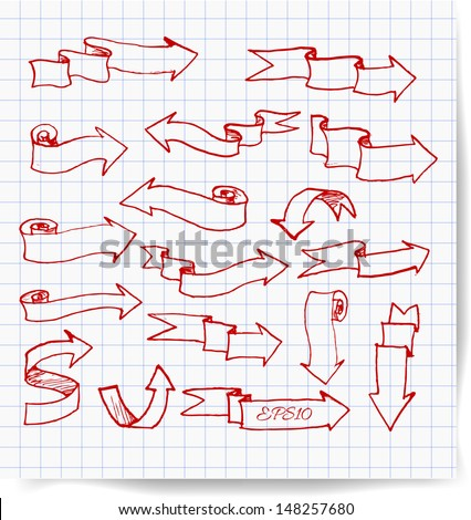 Red pen sketch arrows collection. Vector illustration.