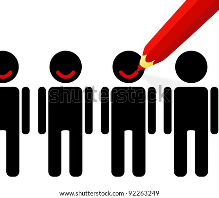 Red pencil draws a smile on the faces of people (satisfaction of clients) - stock vector