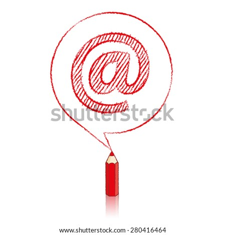 Red Pencil with Reflection Drawing a shaded At sign in Round Speech Bubble on White Background - stock vector