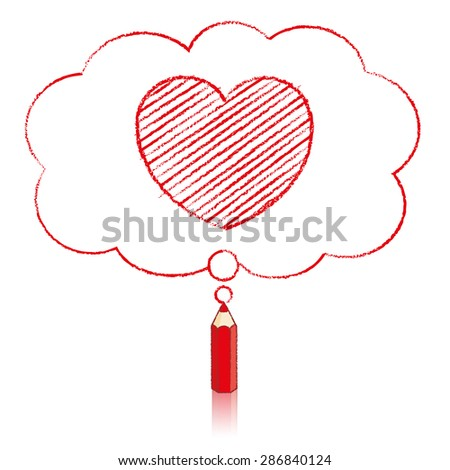Red Pencil with Reflection Drawing Heart Icon in Fluffy Cloud Shaped Think Bubble on White Background - stock vector