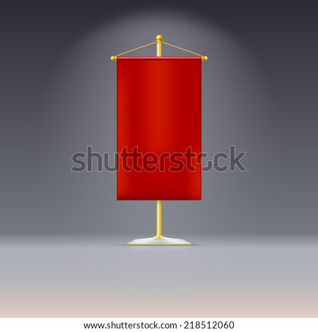 Red pennant or flag on yellow base with gold cord - stock vector