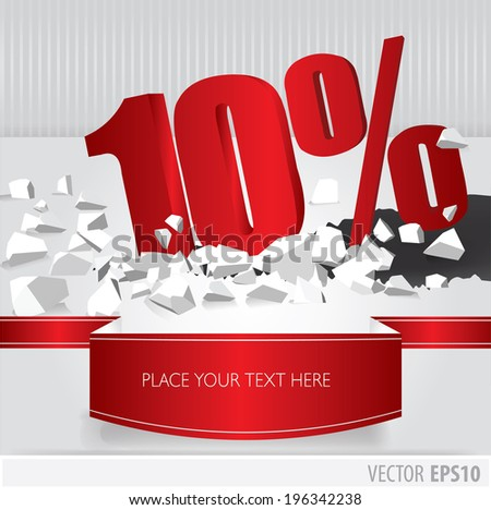 Red 10 percent discount on vector cracked ground on white background - stock vector