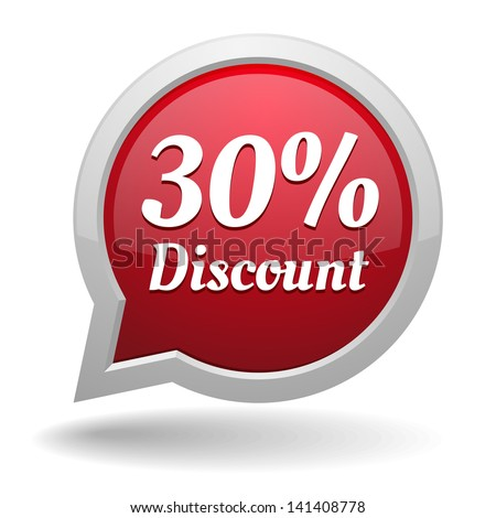 Red 30 percent discount speech bubble