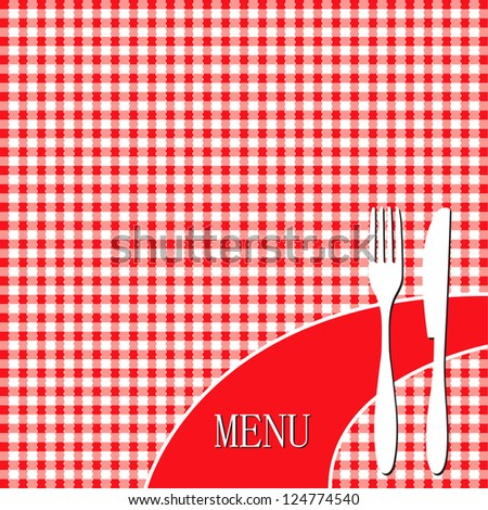 Red picnic cloth - menu card design - stock vector