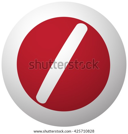 Red Pill icon on white ball - stock vector