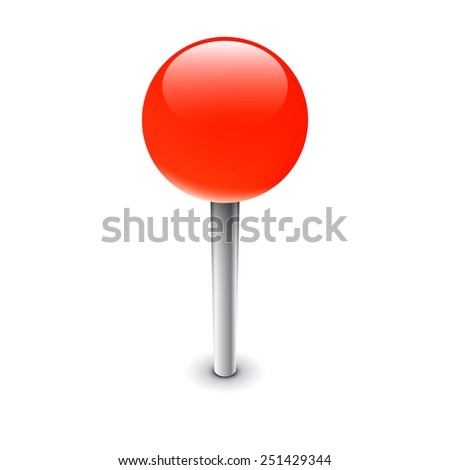 Red pin, isolated map marker - stock vector
