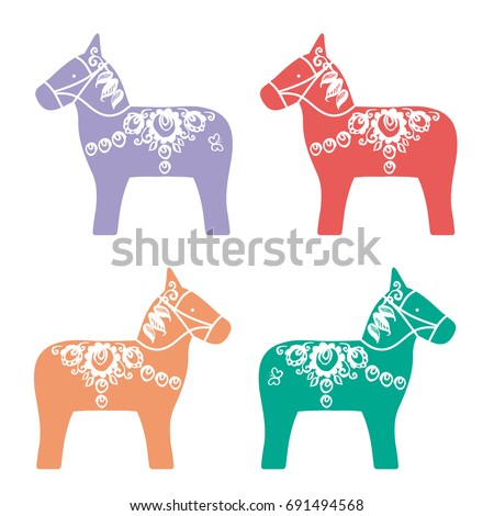 red pink orange green lilac color dalecarlian dala horse traditional carved painted wooden horse statuette