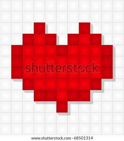 Red pixel heart on white background