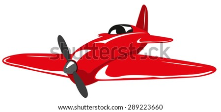 Red plane - stock vector
