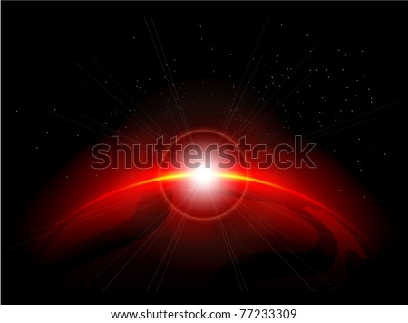 Red planet in the depths of space. Eps10 file - stock vector
