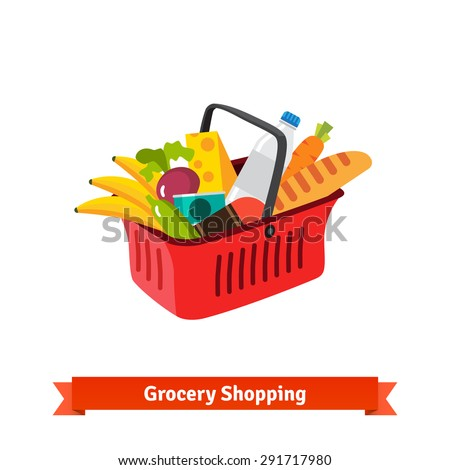 Red plastic shopping basket full of groceries. Supermarket or local store. - stock vector