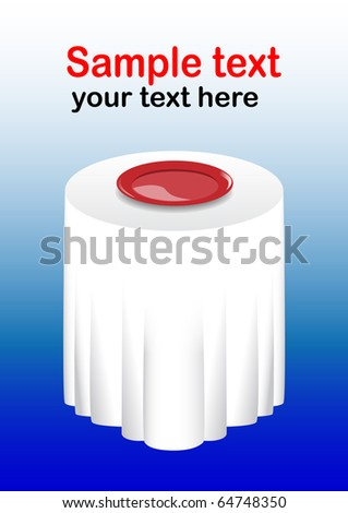 Red plate on a white table - stock vector