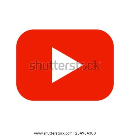 Red Play Button Vector Icon - stock vector