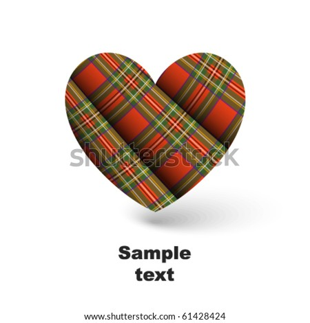 Red pleated Scottish plaid in shape of heart - stock vector