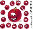red plum cartoon illustration with many expressions isolated on white background - stock photo