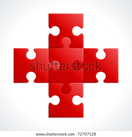Red plus from puzzle vector illustration.  Eps 10. - stock vector