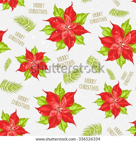 Red poinsettia flower pattern. Seamless christmas background with christmas star. Handmade floral seamless pattern with poinsettia. Vector illustration.