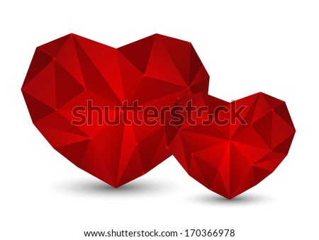 Red polygon hearts on white