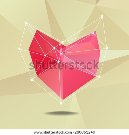 Red polygonal heart on polygonal background - stock vector