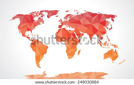 Red polygonal world map vector  - stock vector