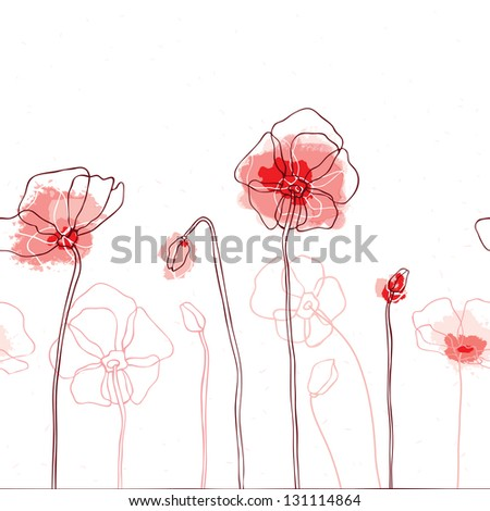 Red poppies on white background. Seamless Vector illustration - stock vector