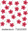 red poppy field with ladybugs - stock vector