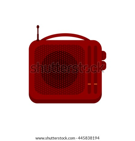 Red portable handheld radio receiver icon. Music sign. Sound symbol.  Vector illustration of retro radio solated on white background. - stock vector