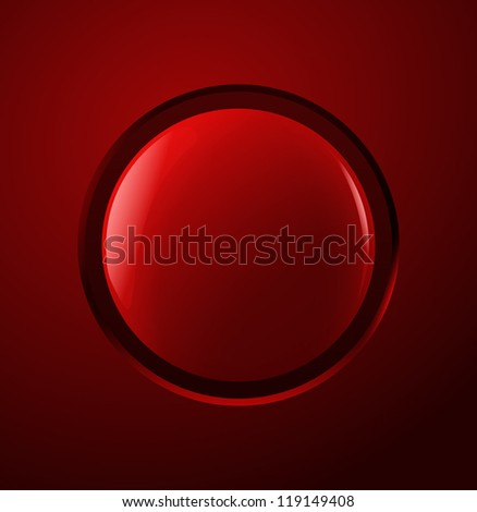 Red power button. Vector illustration.