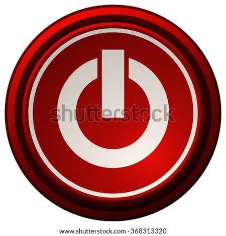 Red Power Button, Vector Illustration.