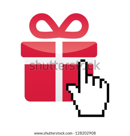 Red present icon with cursor hand vector - stock vector