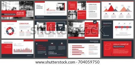 Red presentation templates and infographics elements background. Use for business annual report, flyer, corporate marketing, leaflet, advertising, brochure, modern style.