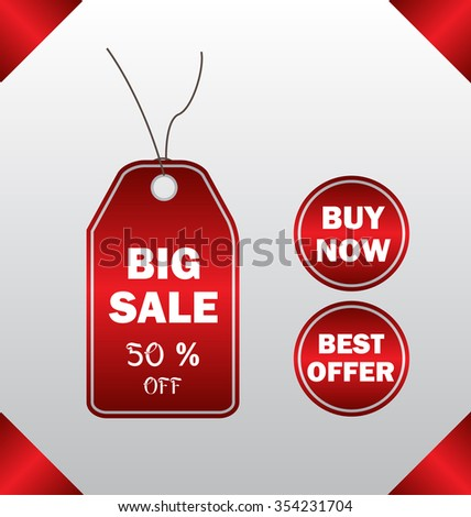 Red price tag set - stock vector