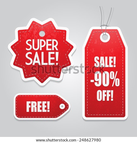 Red Price tag set vector - stock vector