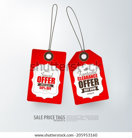 Red price tags on white background.